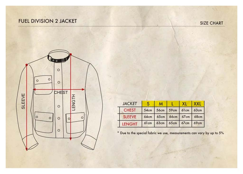 Fuel Division2 Jacket - Size Chart