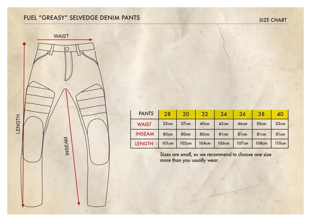 Fuel Greasy Selvedge Pants - Size Chart