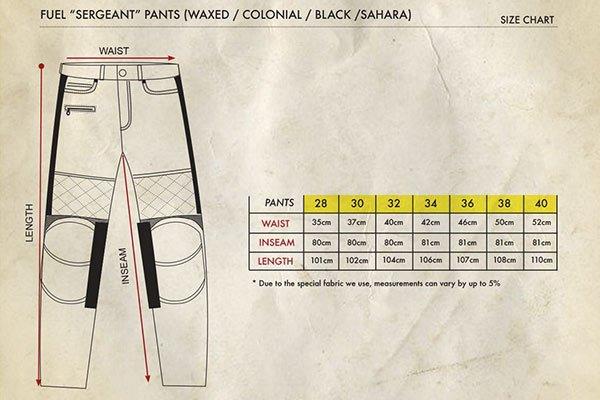 Fuel Sergeant Pants Size Chart