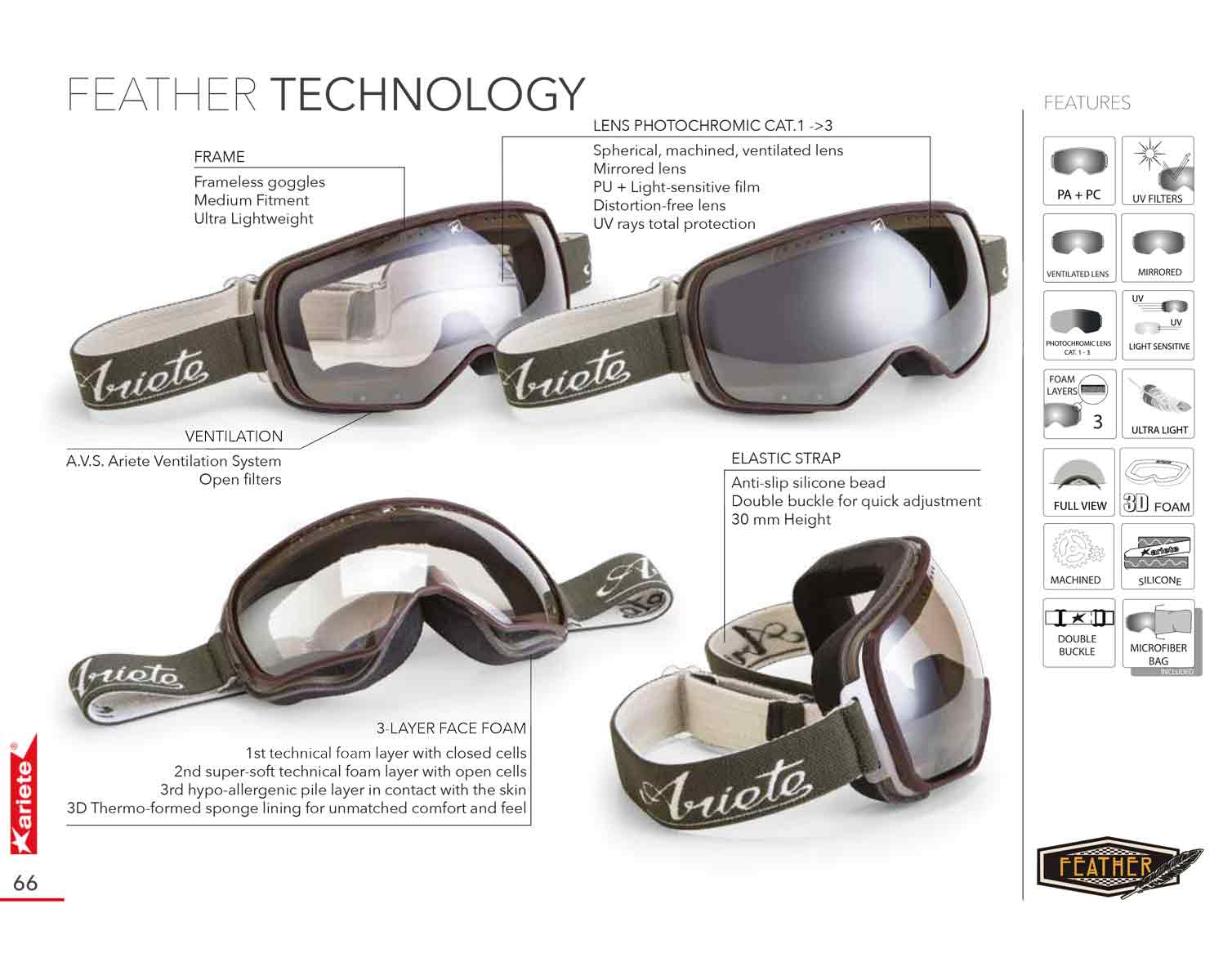 Ariete Feather Goggles - Technical Specifications