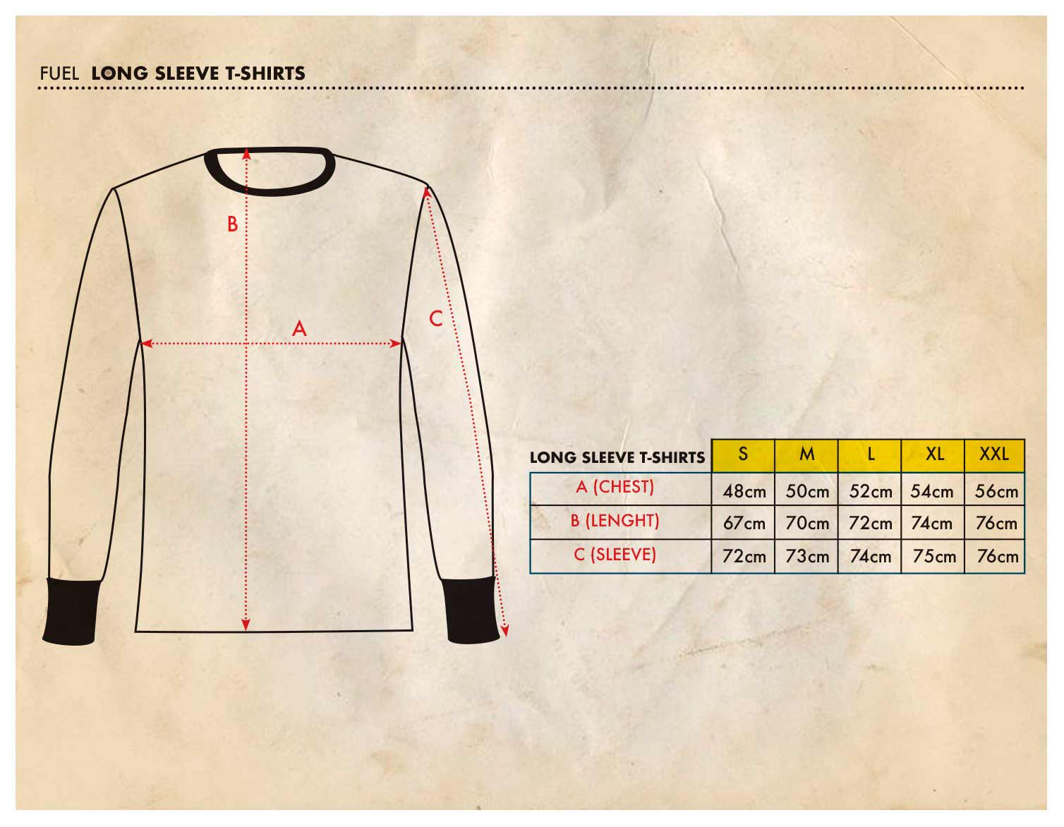 Fuel Long Sleeve - Size Chart