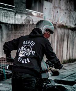 Skull Hoodie Death Rider Black - Back