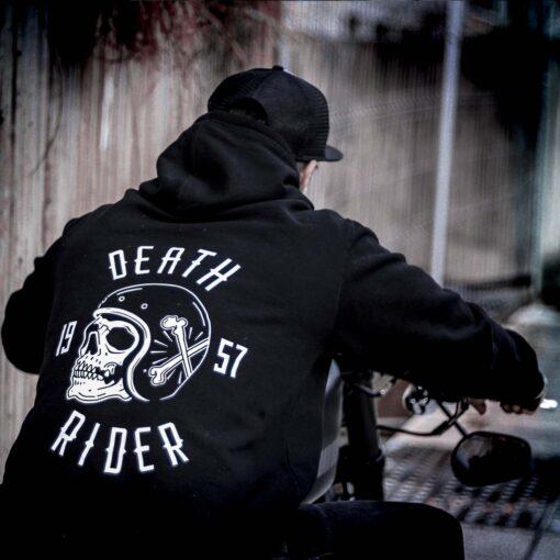 Skull Hoodie Death Rider Black - Back Details