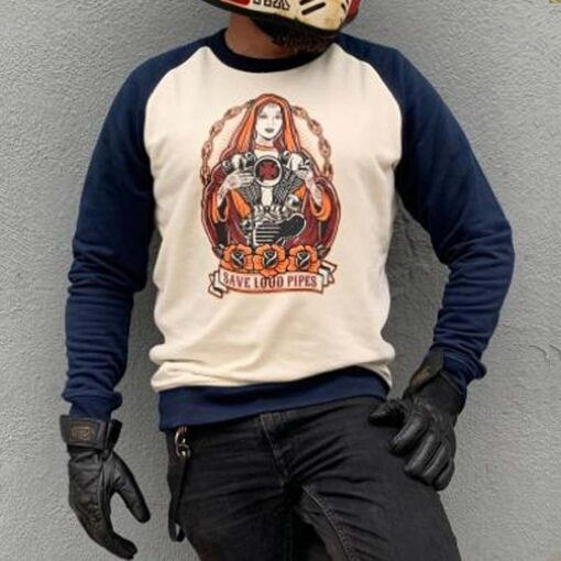 Sweatshirt Baseball Save Loud Pipes - Blue