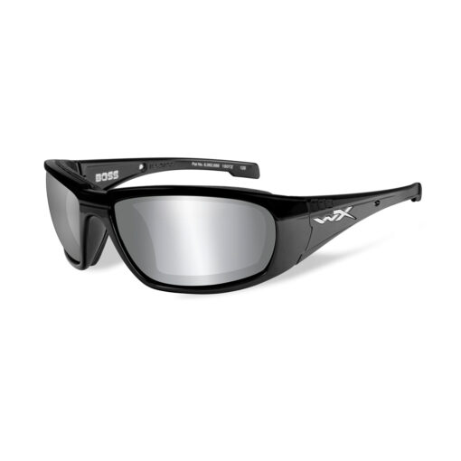 Wiley X BOSS Grey Silver Flash Gloss Black Frame