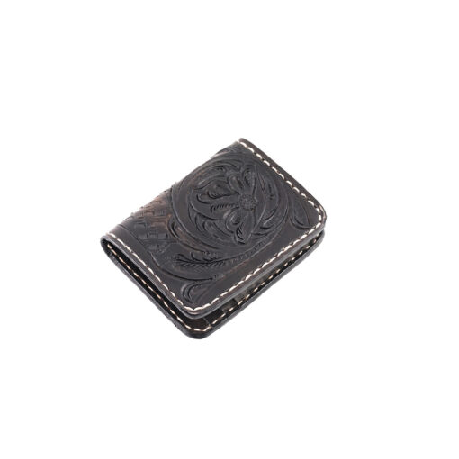 70's Credit Card Holder Wallet Black Engraved Right