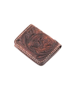 70's Credit Card Holder Wallet Brown Engraved