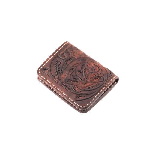 70's Credit Card Holder Wallet Brown Engraved
