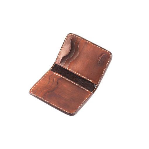 70's Credit Card Holder Wallet Brown Engraved Interior