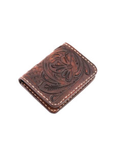 70's Credit Card Holder Wallet Brown Engraved Right