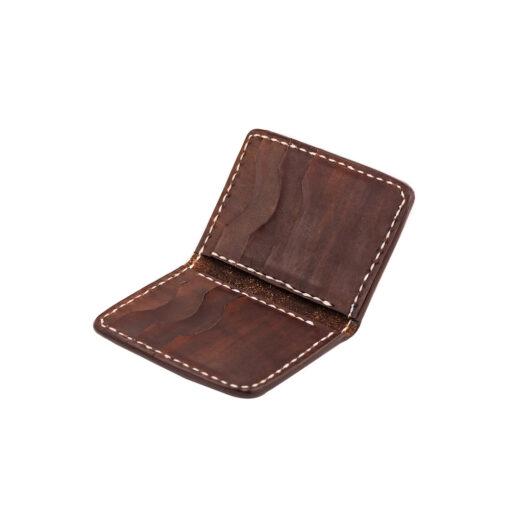 70's Credit Card Holder Wallet Brown Flat Interior
