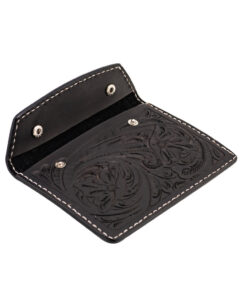 70's Document Holder Wallet Black Engraved Open