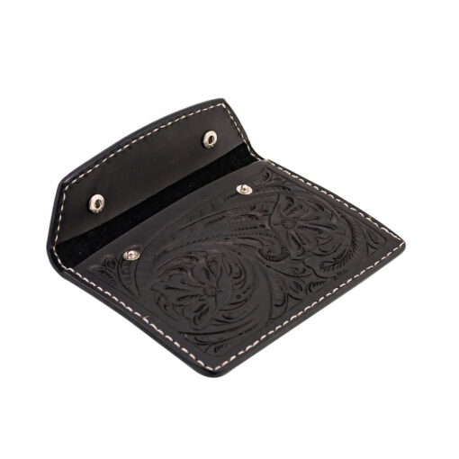 70's Document Holder Wallet Black Engraved Open