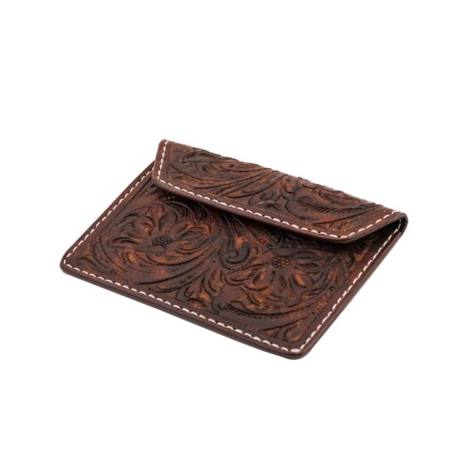 70's Document Holder Wallet Brown Engraved