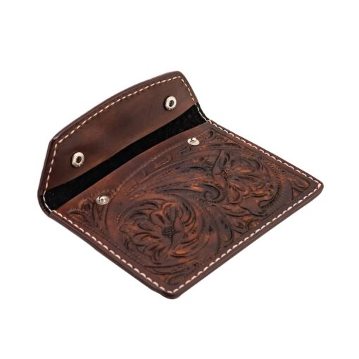70's Document Holder Wallet Brown Engraved Open