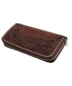 70's Long Engraved Black Woman Wallet - Brown
