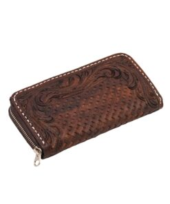 70's Long Engraved Black Woman Wallet - Brown Down
