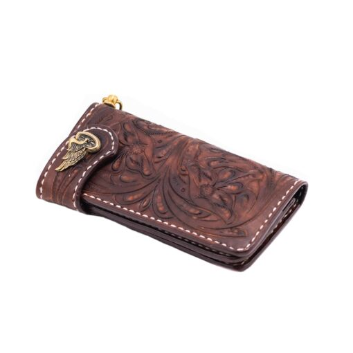 70's Long Engraved Wallet - Brown