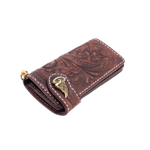 70's Long Engraved Wallet - Brown Down