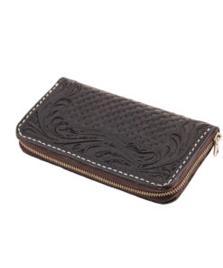 70's Wallet Long Engraved Black Woman - Black