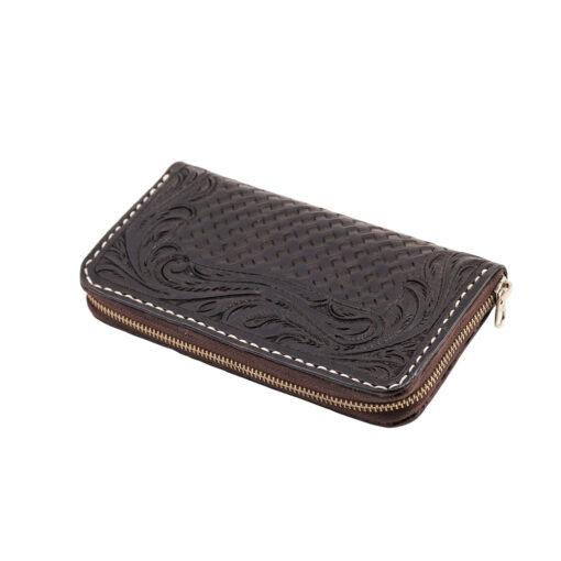 70's Wallet Long Engraved Black Woman - Black