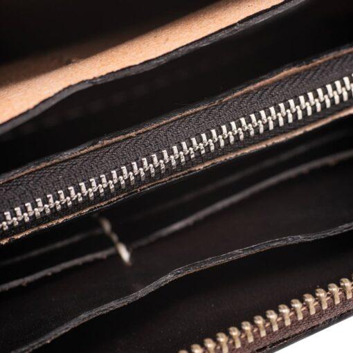 70's Wallet Long Engraved Black Woman - Black Details