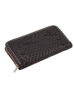 70's Wallet Long Engraved Black Woman - Black Down