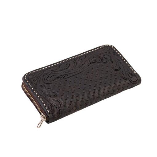 70's Wallet Long Engraved Black Woman - Black Down
