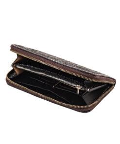 70's Wallet Long Engraved Black Woman - Black Open