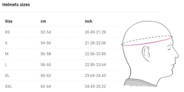 Blauer HT Helmet - Size Chart