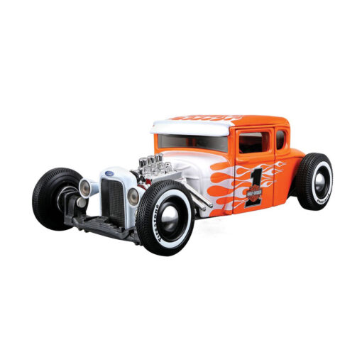 1929 Ford Model A Harley Davidson Orange Flames - Scale 1:24 Maisto Front