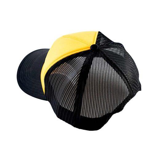 70s Trucker Cap Black Yellow Rear