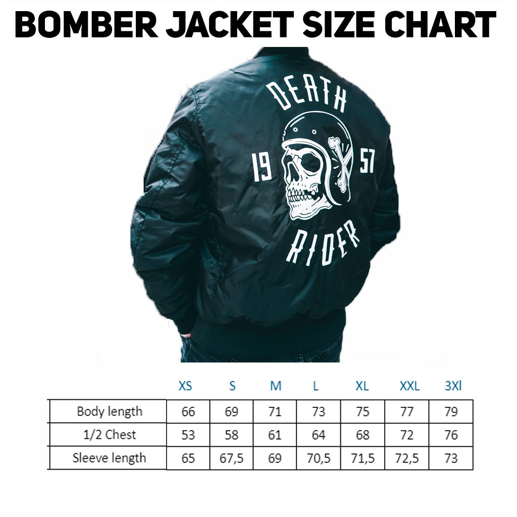 Death Rider - Bomber - Size Chart