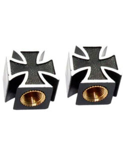 Mooneyes Valve Caps Iron Maltese Cross - Black