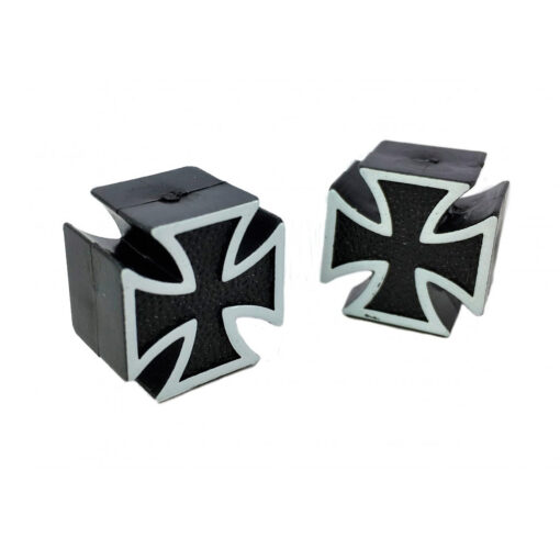 Mooneyes Valve Caps Iron Maltese Cross - Black UP