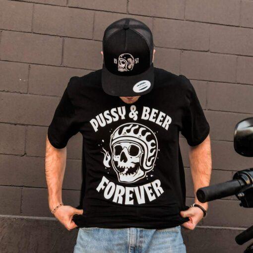 Skull T-Shirt Pussy & Beer - Model