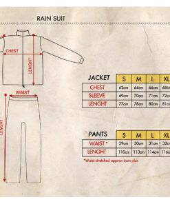 Death Rider Rain Suit - Size Chart