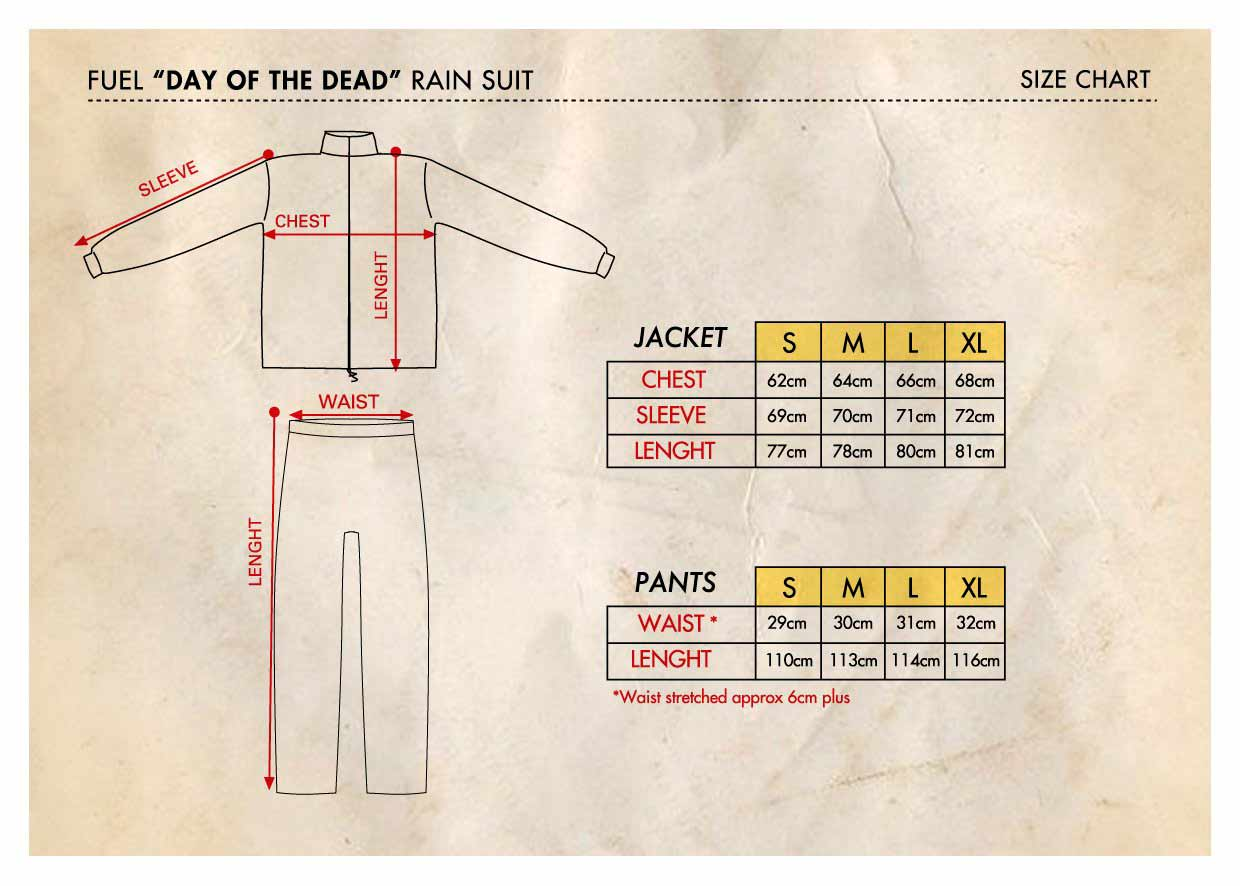 """Fuel """"Day of The Dead"""" Rain Suit - Size Chart"""