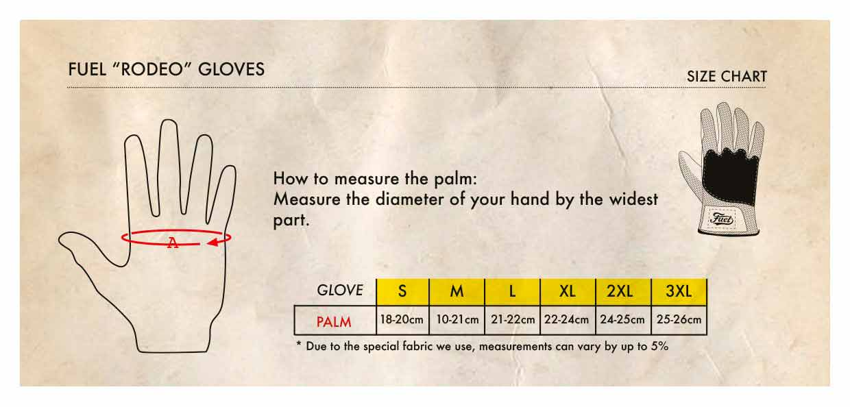 Fuel Rodeo Glove - Size Chart